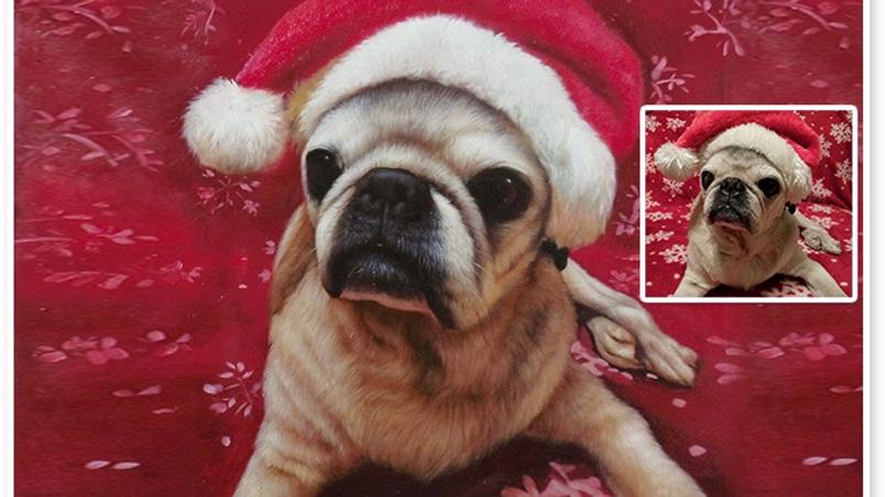Dog Portrait Santa Clause