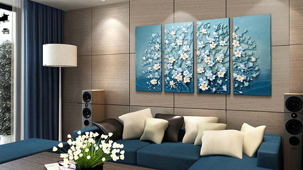 Custom Made 4 Module Flower Composition Home Decor Range