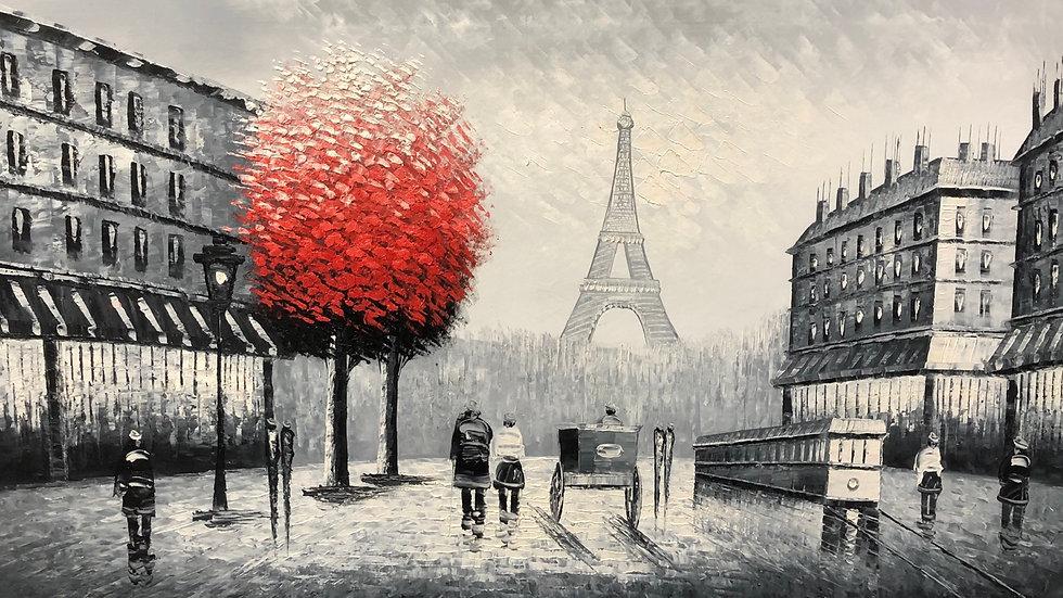 Paris Eifel Tower & 3D Red Tree