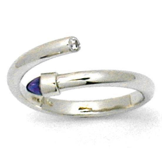 Amethyst and Diamond Bullet Ring in 14K