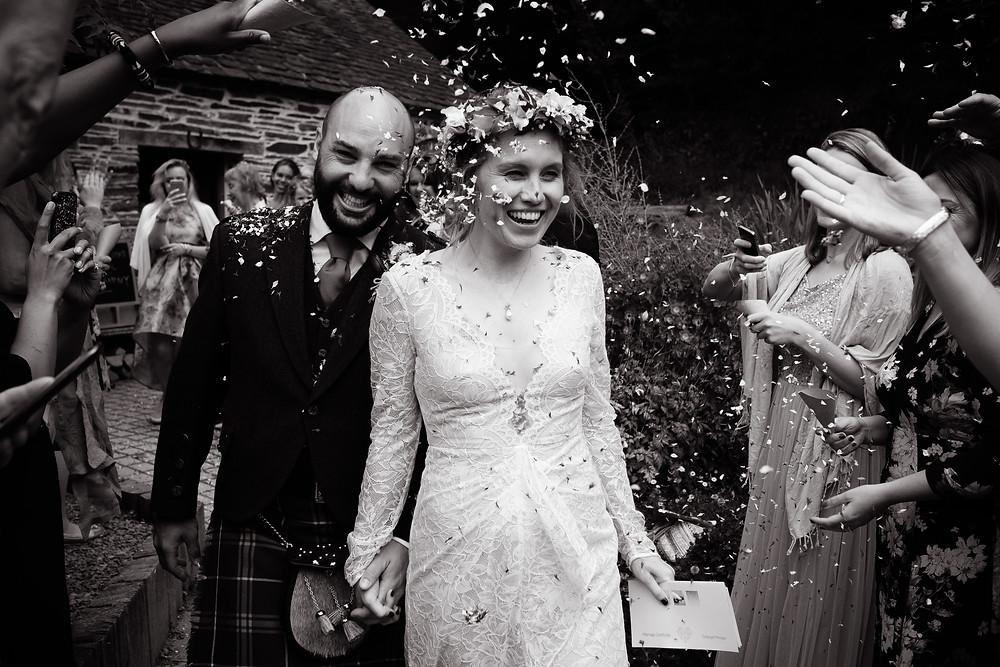 wedding couple confetti shot