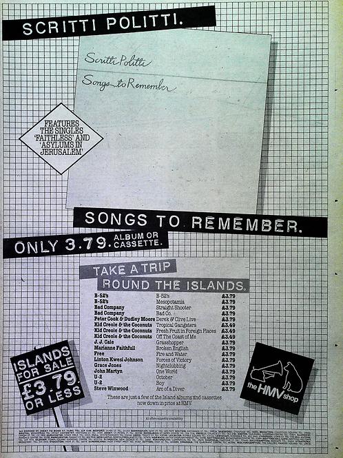 Scritti Politti - Songs To Remember