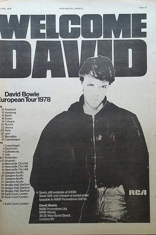 David Bowie - European Tour 1978