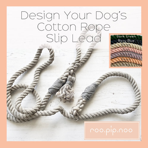 Design your dog's cotton rope slip lead