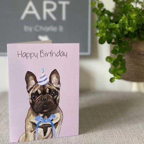 French Bulldog Birthday Cards x5