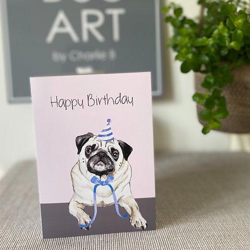 Pug Birthday Cards x5