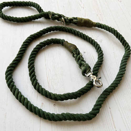 Forest Green Rope Lead (Custom made)
