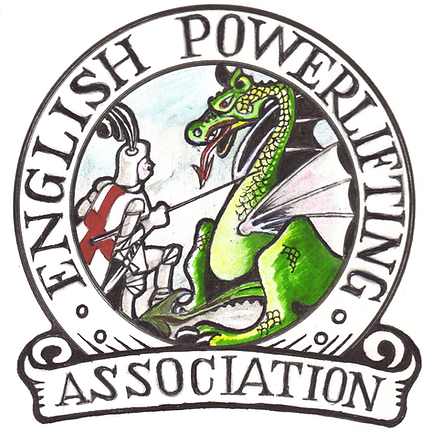 An unofficial emblem for the English Powerlifting Association.  The EPA is a Home Nation of the Great Britain Powerlifting Federation.  The GBPF is a Drug Tested Powerlifting organisation and is affiliated to the International Powerlifting Federation.