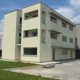vista dell'edificio realizzato con prova di colore