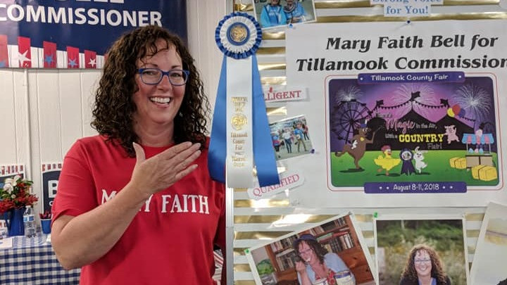 mary faith bell for tillamook county commissioner wins rosetta award for booth decoration