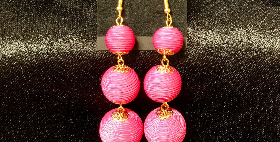 Pink & Gold Dangle Earrings