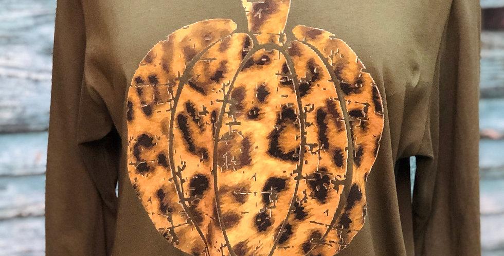 Cheetah Print Pumpkin Long Sleeve Tee