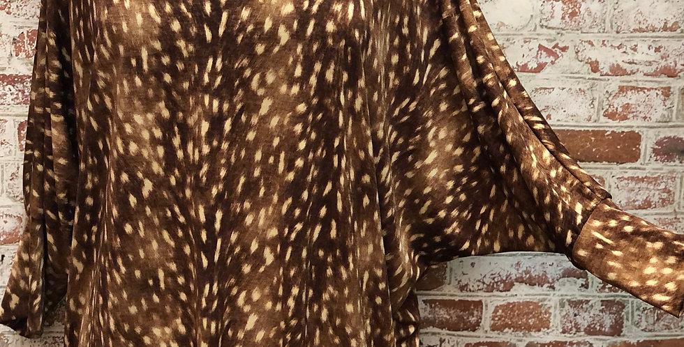 Deer skin print tunic top