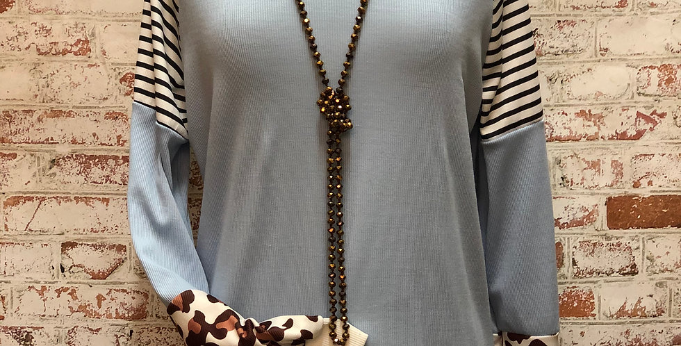Baby blue stripe and leopard top