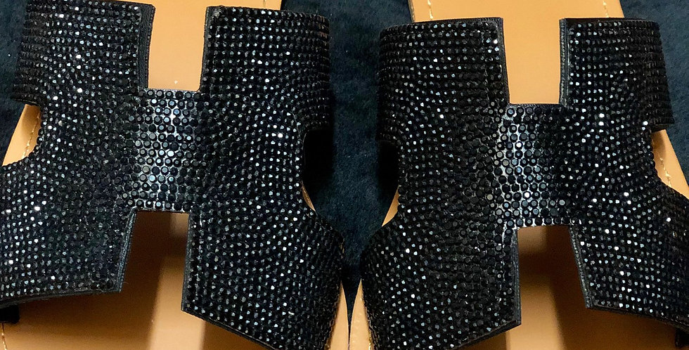 Black Studded Slide Sandals