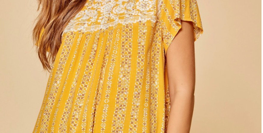 Marigold Embroidery Top