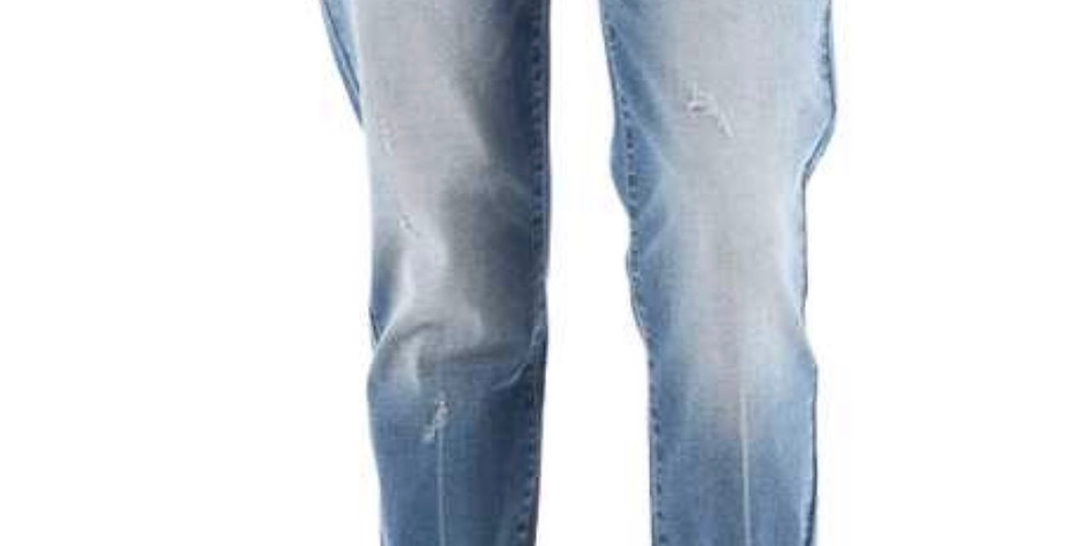 Low-Rise Plaid Cuffed Boyfriend Jeans