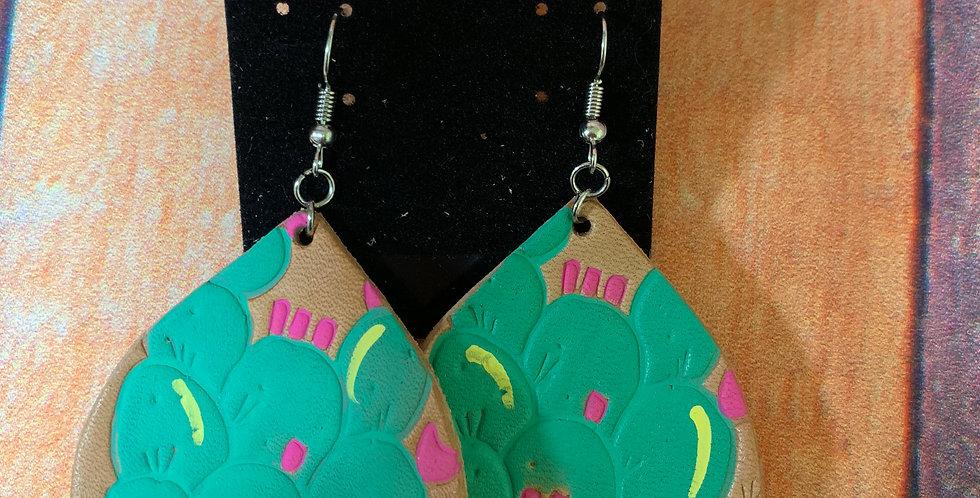 Teardrop Cactus Pink & Turquoise Earrings