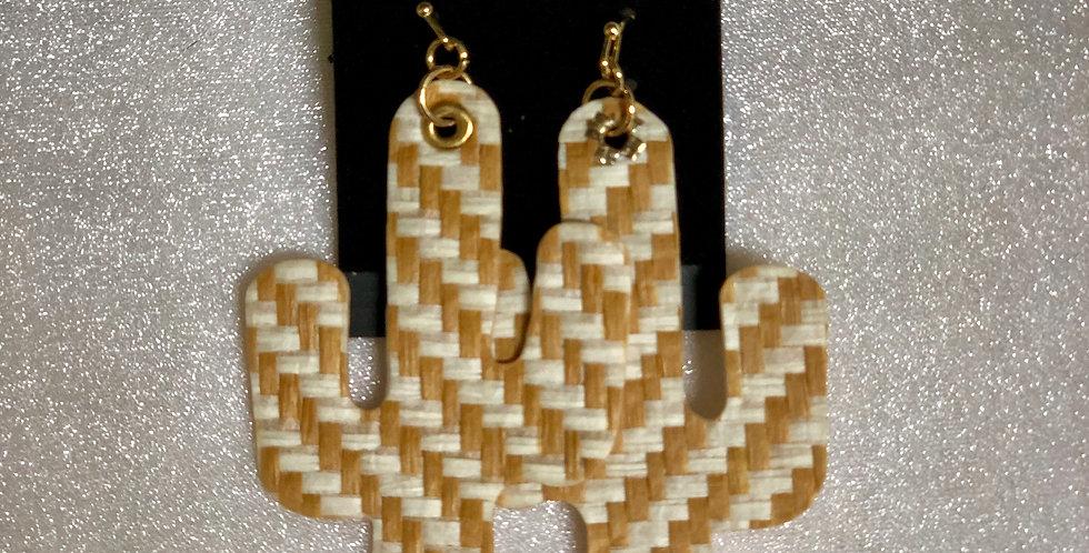 Large Tan & White Cactus Earrings