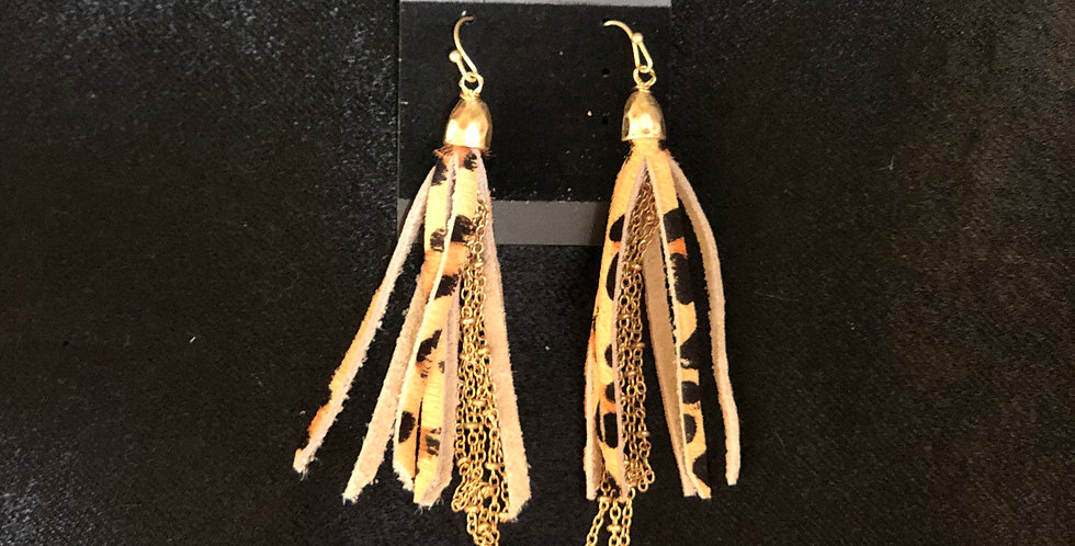 Snake Skin Tassel Earrings