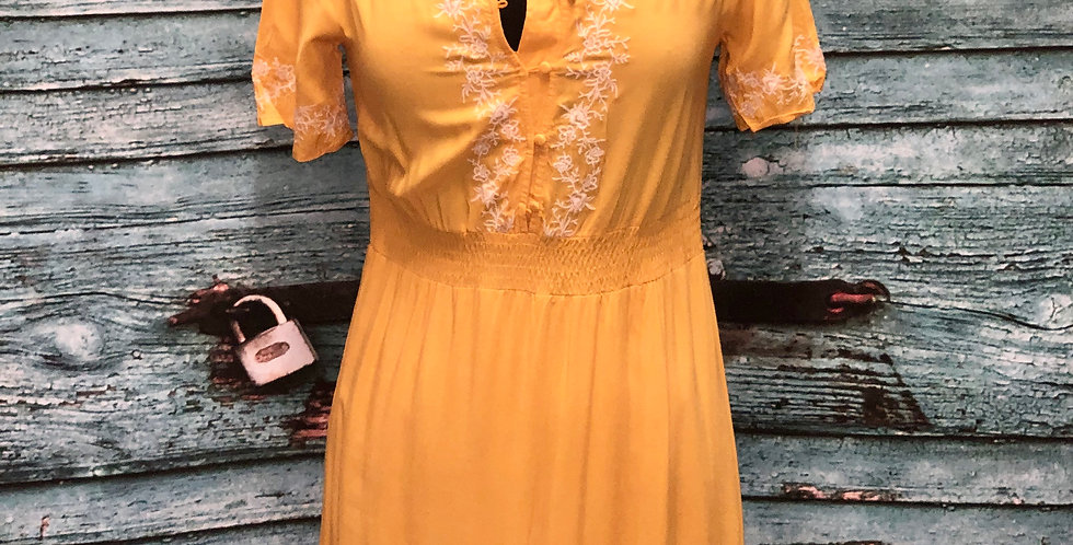 Yellow Button Up Maxi Dress
