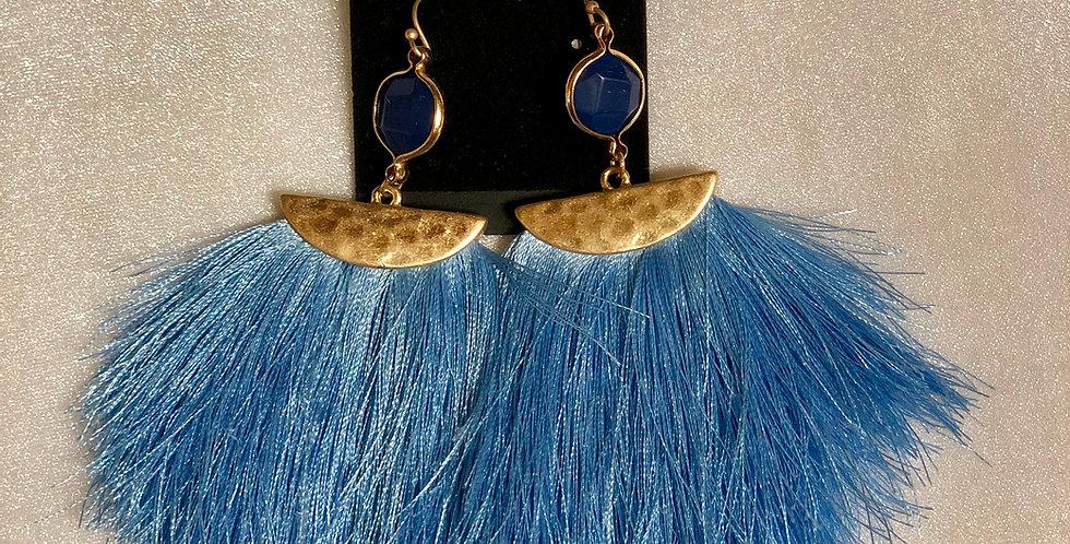Light Blue Fringe Earrings