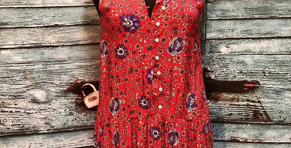 Red Button Up Flower Maxi Dress