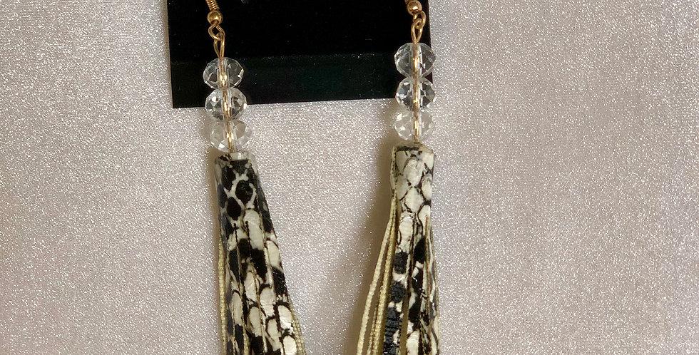 Snake Skin Tassel Earrings