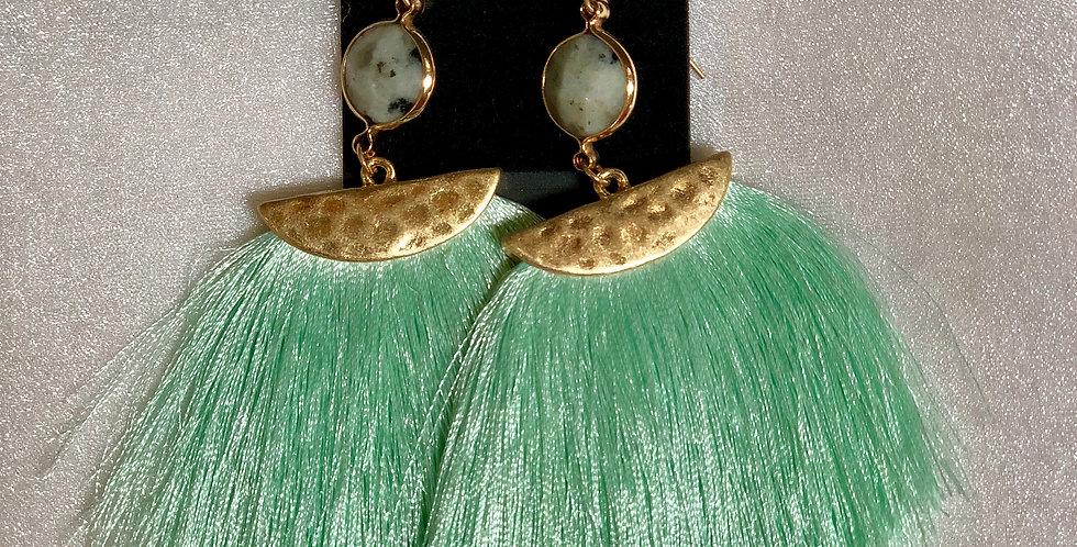 Mint Green Fringe Earrings