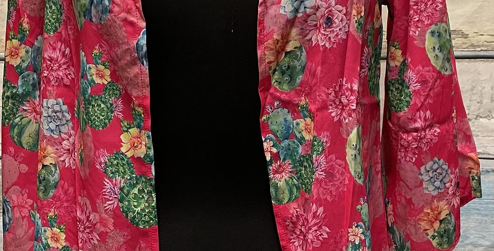 Pink Kimono with Cactus