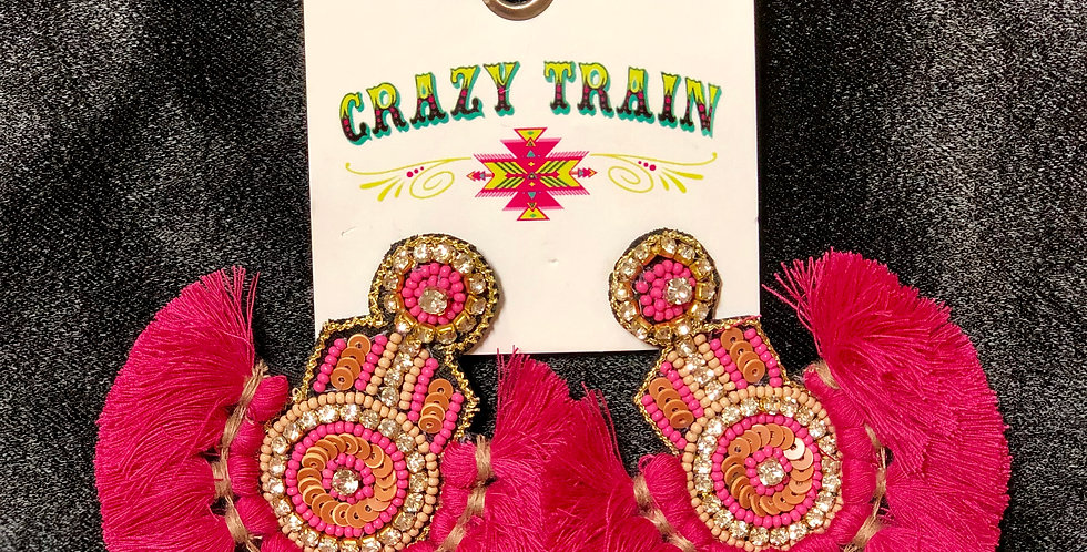 Hot Pink Crazy Train Earrings
