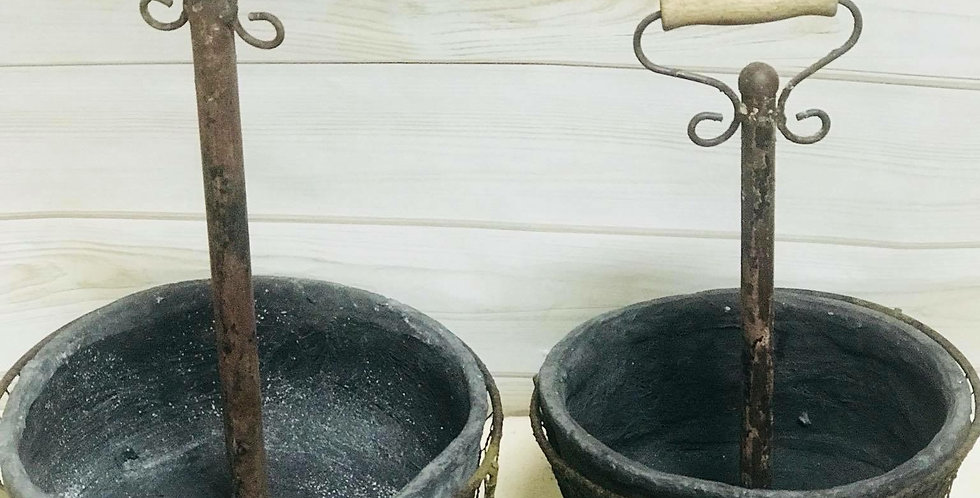 Black Resin Planters with Metal Handle