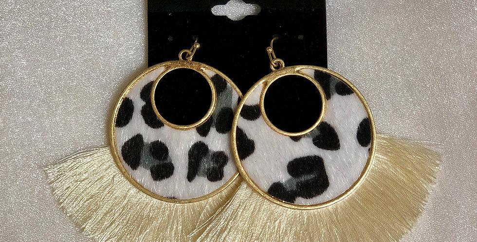White & Gold Cheetah Fringe Earrings