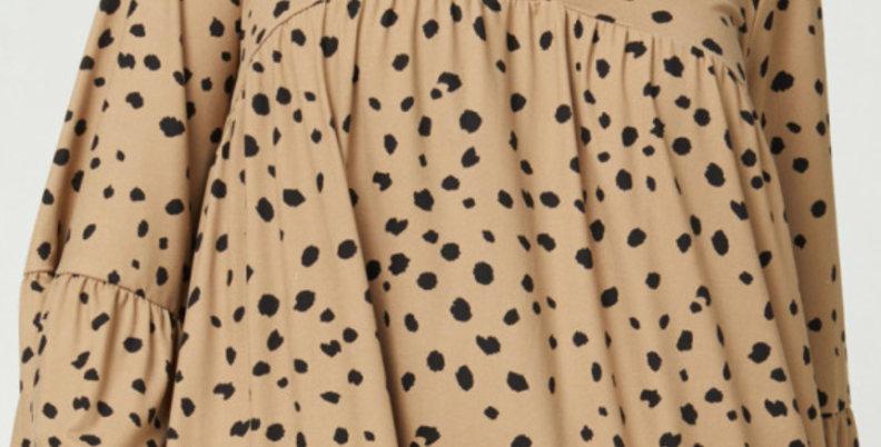 Spotted V-neck Babydoll Dress