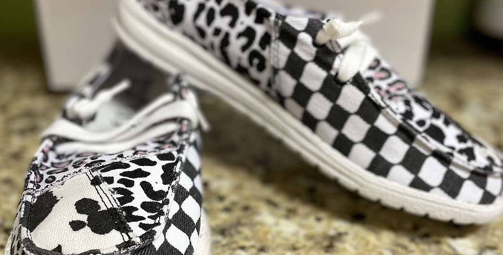 Black Checkered with Cow Print
