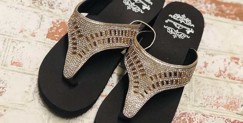 Montana West Brown Sparkly Sandals