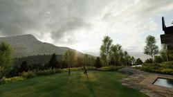 Lone Mountain View at Backyard Lawn