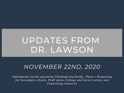 Updates from Dr. Lawson: November 22nd, 2020