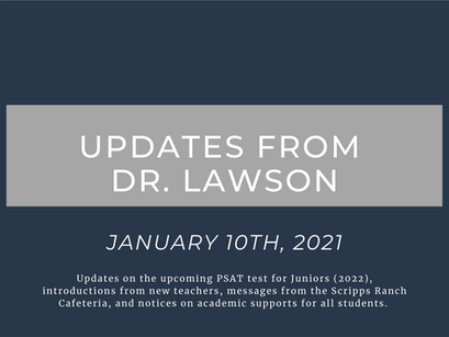 Updates from Dr. Lawson: January 10th, 2021