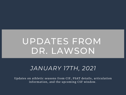 Updates from Dr. Lawson: January 17th, 2021