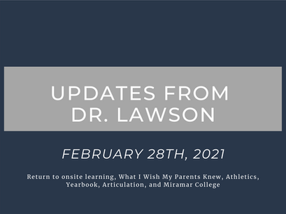 Updates from Dr. Lawson: February 28th, 2021
