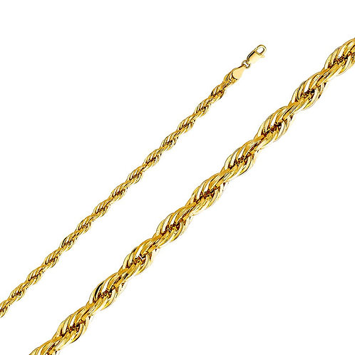 14k Yellow Gold 5-mm Hollow Rope Chain Necklace