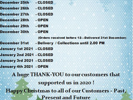 Our 2020 Christmas Opening Hours