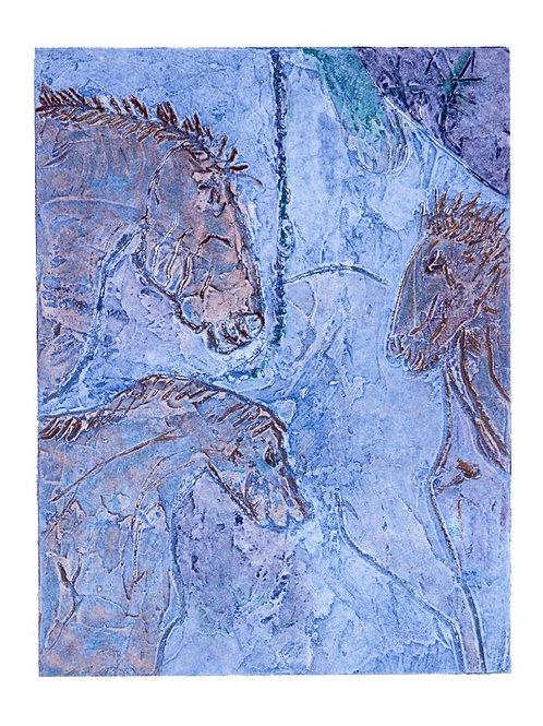 Blue Panel of Horses