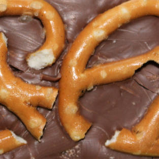 £4.50 Belgian milk chocolate topped with sea salted pretzels.