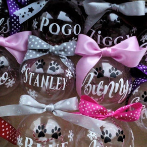 Personalised, fillable pet baubles.