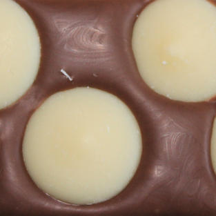 £4.50 Belgian milk chocolate topped with white chocolate buttons