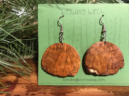 Circlular Live Edge Cherry Burl Earrings