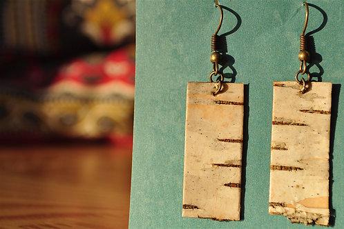 Rectangular White Birch Earrings
