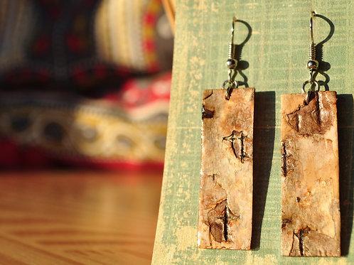 Silver Birch Bark Earrings